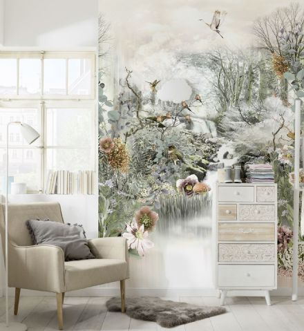 Wallpaper mural Japanese 3D white garden